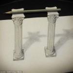 Gambar ini dua pilar yang sangat realistis, anda mungkin bisa percaya bahwa pilar memegang pensil ini