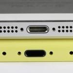 Beda penampakan bagian bawah iPhone 5 (atas) dan iPhone Light (bawah)