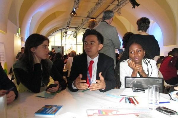I Gede Pandu Wirawan pada sesi bertukar pendapat dan ide di world cafe (Ist)