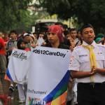 Anggota PMR mengikuti pawai #2612CareDay di depan kantor Balai Kota Banda Aceh (Foto M Iqbal/SeputarAceh.com)