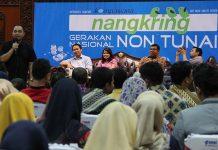 Para pemateri memberikan materi dalam rangka acara Kompasiana Nangkring Non Tunai di Aula Bank Indonesia, Banda Aceh (Foto M Iqbal/SeputarAceh.com)