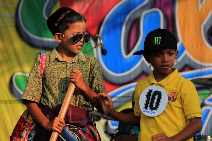 Peserta cagok Aceh dari SD 1 Bireuen acara Festival Sabang Fair 2015 (Foto M Iqbal/SeputarAceh.com)