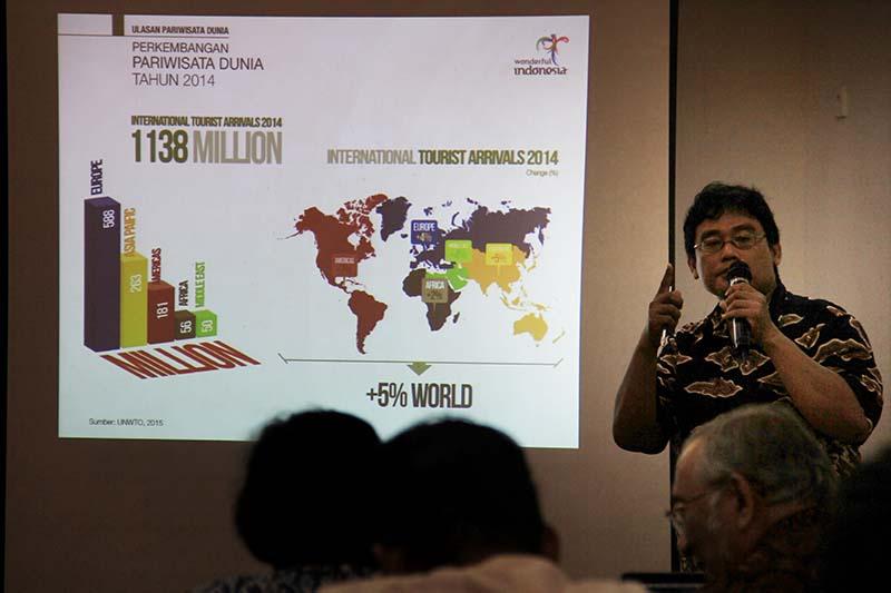 Agus Hartono, pemateri workshop Pengembangan Destinasi Wisata Sejarah dan Religi program Jalur Samudra Cheng Ho (Foto M Iqbal/SeputarAceh.com)