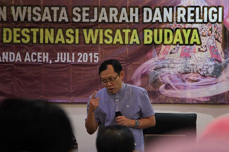 Prof Dr Yuwana pemateri workshop Pengembangan Destinasi Pariwisata Indonesia Berbasis Sejarah Maritim (Foto M Iqbal/SeputarAceh.com)