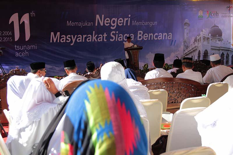 Peringatan 11 tahun tsunami mengambil tema 'Memajukan Negeri Membangun Masyarakat Siaga Bencana' bertempat di Halaman Masjid Rahmatullah, Lampuuk, Aceh Besar (Foto M Iqbal/SeputarAceh.com)